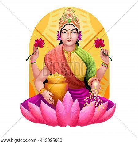 Shubh Navratri Digital Art Ilustration. Navaratri Hindu Festival, Celebrated In Autumn. Shailaputri,