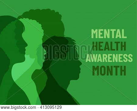 Mental Health Awareness Month. Poster With Different People On Green Background