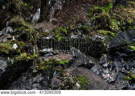 Mountain Rock Texture Closeup For Your Design. Natural Wallpaper.