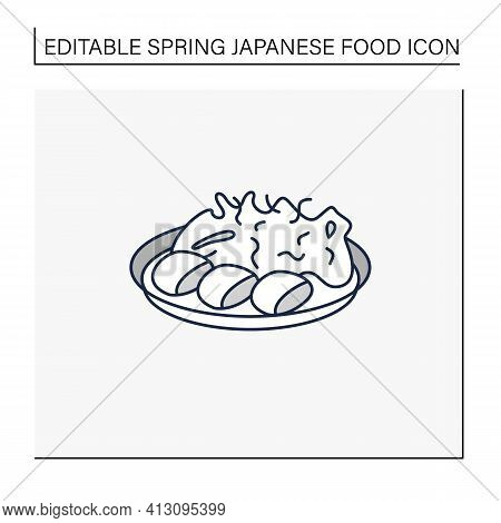 Spring Cabbage Line Icon. Garnish To Meat On Plate.traditional Dish. Japanese Food Concept. Isolated