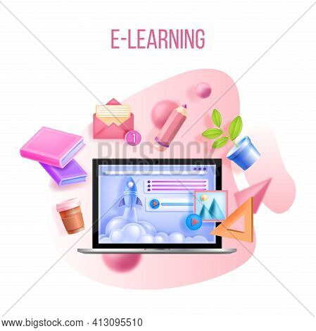 Online Education, Web Training, Internet School, Digital University Courses Concept, Laptop, Rocket.