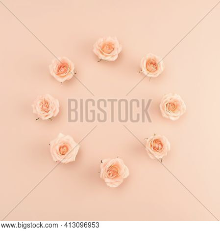 Beautiful Pink Tea Roses Wreath On Pastel Background In Retro Style. Romantic Holiday Concept. Flat