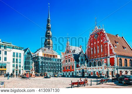 Town Hall Square (latvian Ratslaukums) Is One Of The Central Squares Of Riga, Located In The Old Tow