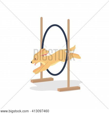 Golden Spaniel Jumping Through Hoop Flat Color Vector Detailed Character