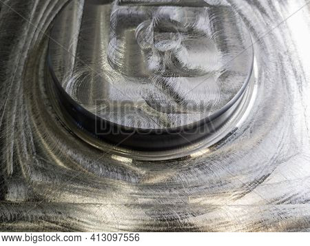 Round Steel Workpiece After Cnc Surface Milling - Full Frame Industrial Cnc Technology Backdrop