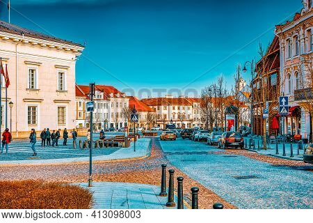 Didzioji  Is A Street In The Historic Part Of The Old City Of Vilnus. Lithuania.