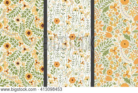 Set Of Vector Floral Seamless Patterns. Blooming Summer Meadow. Colorful Different Yellow Wildflower