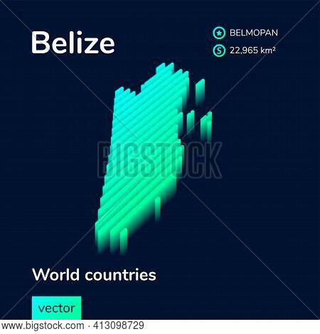 Stylized Striped Neon Isometric Digital Vector Map Of Belize With 3d Effect. Map Of Belize Is In Gre
