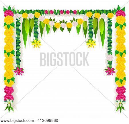 Flower Garland Mala Template Indian Ugadi Holiday Isolated On White