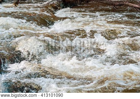 Rapids Small River, Strong Current Water Flowing Among Stones, Beautiful Nature Outdoors