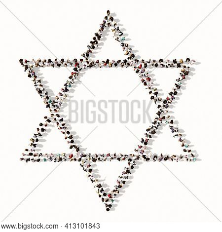 Concept or conceptual large gathering  of people forming the image of the religious hebrew star of David. A 3d illustration metaphor for Judaism and Israel, religion, spirituality, prayer or belief