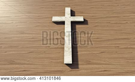 Concept or conceptual white marble cross on a natural wood or wooden deck background. 3d illustration metaphor for God, Christ, religious, faith, holy, spiritual, Jesus, belief, resurection