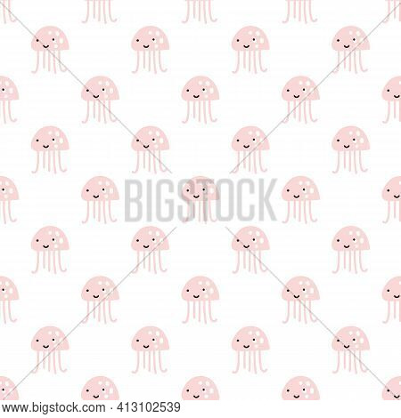 Pink Octopus On White Pattern Background. Cute Octopus Seamless Pattern. Marine Life And Animals Con