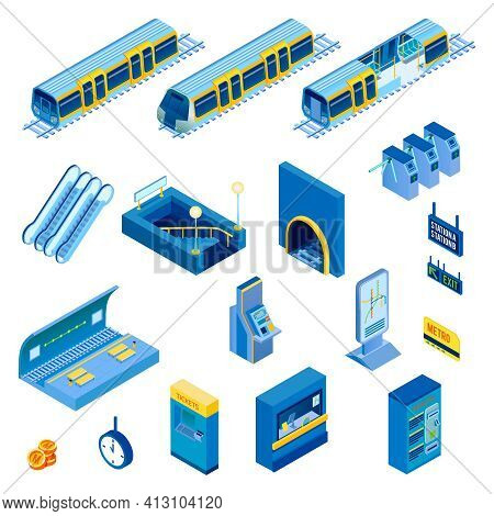 Isometric Set Of Various Underground Metro Station Elements With Escalator Tunnel Train Turnstile Is