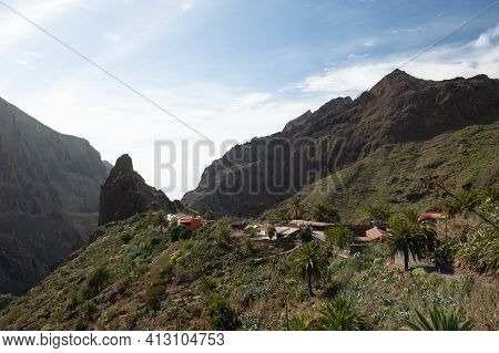 Ancient Pirate Village Masca. Hiking In Gorge Masca. Volcanic Island. Masca Valley, Masca Village, T