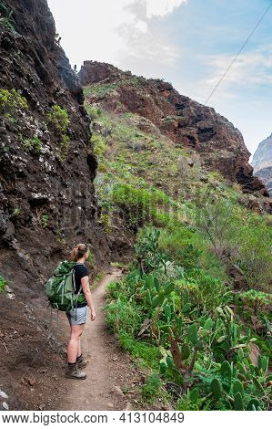 Young Woman Hiker With Backpack From Behind Standing On Path To Canyon. Hiking Woman In The Canyon.