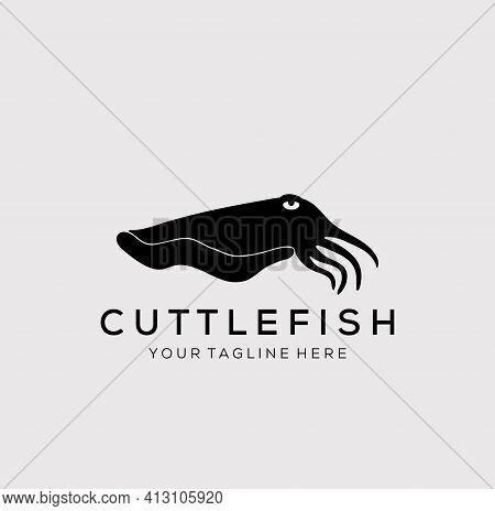 Cuttle Fish Logo Vector Illustration Design. Silhouette Cuttle Fish Symbol