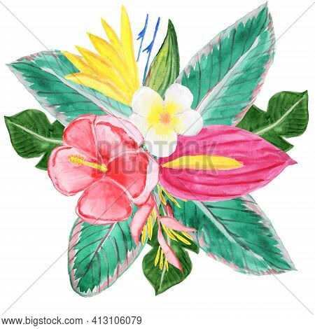 Watercolor Tropical Composition. A Bouquet Of Flowers And Leaves. Hawaiian Vivid Illustration.