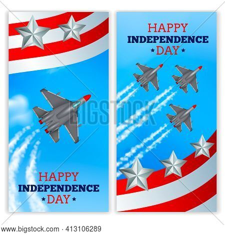 Independence Day Celebration Military Airshow 2 Realistic Vertical Festive Banners With Flying Airpl