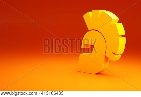Yellow Greek Helmet Icon Isolated On Orange Background. Antiques Helmet For Head Protection Soldiers