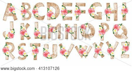 Watercolor Wooden Alphabet With Hawaiian Flower Arrangements.