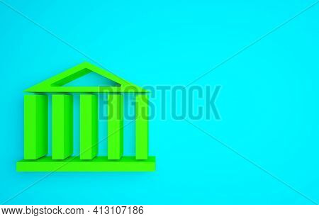 Green Parthenon From Athens, Acropolis, Greece Icon Isolated On Blue Background. Greek Ancient Natio