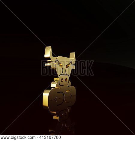 Gold Minotaur Icon Isolated On Brown Background. Mythical Greek Powerful Creature The Half Human Bul