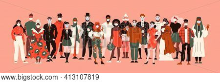 Nationality People In Protection Masks Composition With People Of Colour Characters Different Races