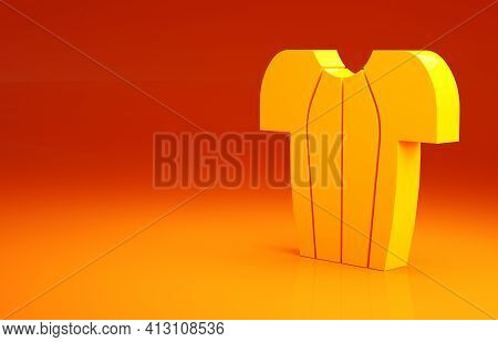 Yellow Cycling T-shirt Icon Isolated On Orange Background. Cycling Jersey. Bicycle Apparel. Minimali