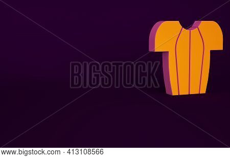 Orange Cycling T-shirt Icon Isolated On Purple Background. Cycling Jersey. Bicycle Apparel. Minimali