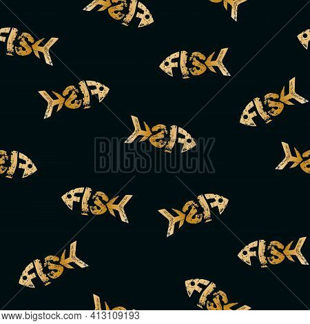 Seamless Pattern With Golden Fish On A Dark Background Lettering Grunge Luxury Texture In The Word F