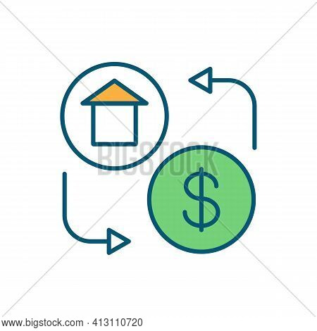 Home Buying Rgb Color Icon. Homeownership. Renting Apartment. Mortgage Costs. Providing Long-term St