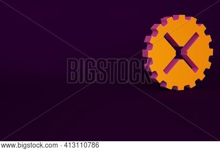 Orange Bicycle Sprocket Crank Icon Isolated On Purple Background. Minimalism Concept. 3d Illustratio