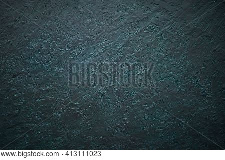 Abstract Dark Green Background With Uneven Surface For Presentation And Design. Gypsum Painted Textu