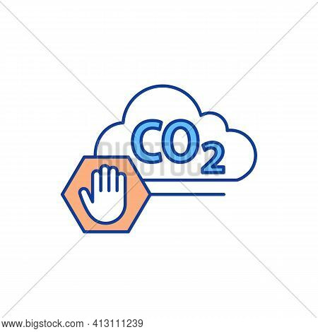 Carbon Emissions Reduction Rgb Color Icon. Natural Resource Management. Increased Sustainability. En
