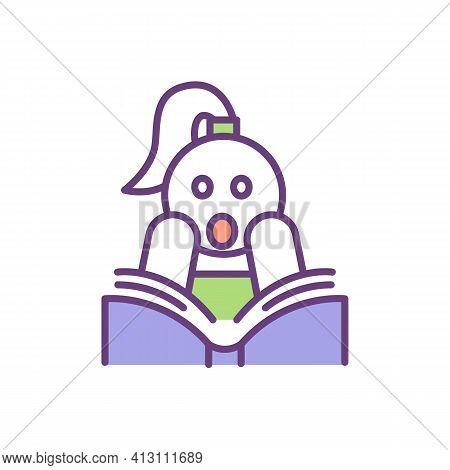 Emotional Intelligence Improvement Rgb Color Icon. Sensitive Empath Type. Reading Books Process. Emp