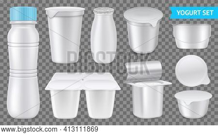 Isolated Realistic Yogurt Transparent Icon Set White Package Of Drinkable And Dense Yogurt Vector Il