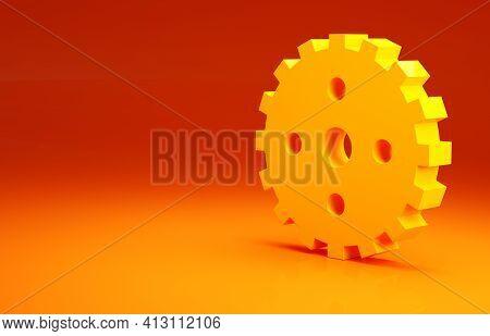 Yellow Bicycle Sprocket Crank Icon Isolated On Orange Background. Minimalism Concept. 3d Illustratio