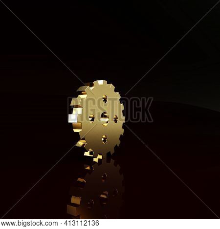 Gold Bicycle Sprocket Crank Icon Isolated On Brown Background. Minimalism Concept. 3d Illustration 3