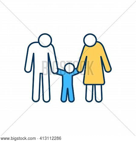 Nuclear Family Rgb Color Icon. Basic Social Unit. Two Parents And Toddler. Parental Rights. Adopting