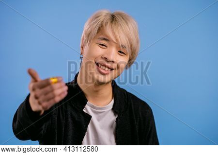 Asian Stylish Man Showing Hey You, Come Here. Korean Guy Asks Join Him, Beckons With Inviting Hand H