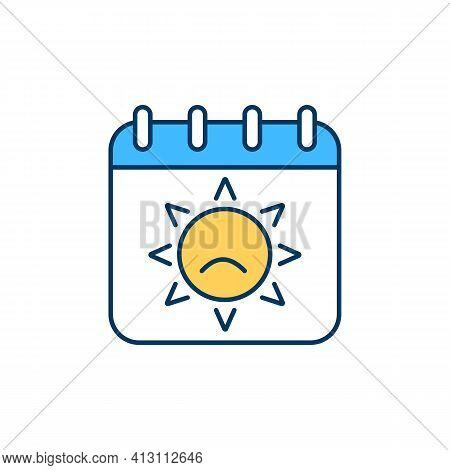 Summer Depression Rgb Color Icon. Summertime Blues. High Temperatures Impact. Episodic Illness. Summ