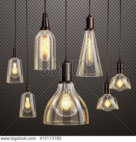 Hanging Deco Glass Lamps With Glowing Filament Antique Led Light Bulbs Realistic Dark Transparent Se