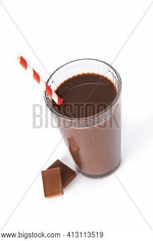 Chocolate Milkshake In Glass Isolated On White Background