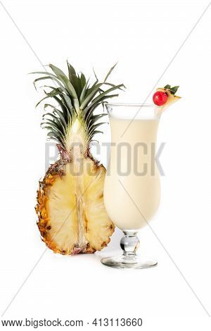 Pina Colada Cocktail In Glass Isolated On White Background