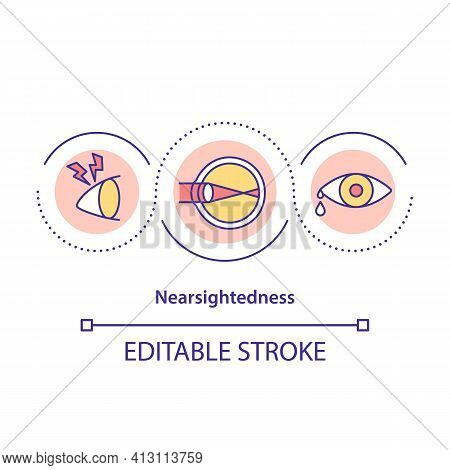 Nearsightedness Concept Icon. Vision Condition Idea Thin Line Illustration. Blur With Eyeglasses. Co