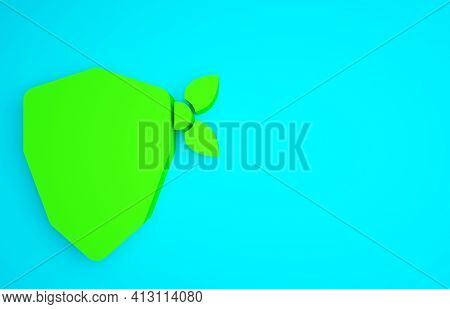 Green Vandal Icon Isolated On Blue Background. Minimalism Concept. 3d Illustration 3d Render
