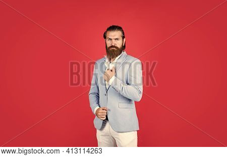 Bearded Stylish Businessman. Handsome Confident Man With Perfect Hairstyle. Fashion Model Wear Jacke