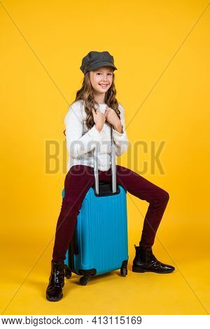 Young Traveler. Concept Of Travelling. Childhood Happiness. Ready For Vacation Trip. Adventure. Happ
