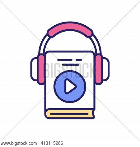 Listening To Motivation Audiobooks And Podcasts Rgb Color Icon. Motivational Blogs And Quotes. Mento